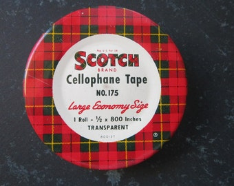 vintage tape tins - Scotch cellophane tape tin - SCOTCH tape tin