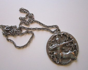 vintage EDLEE Sagitarius pendant necklace - ZODIAC, silver tone - signed