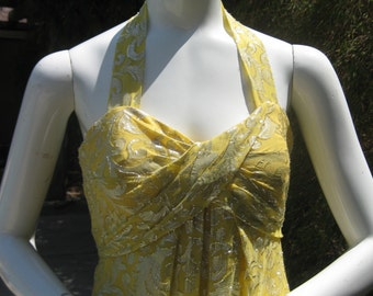Nicole Miller Collection long flowing silk halter dress yellow and silver