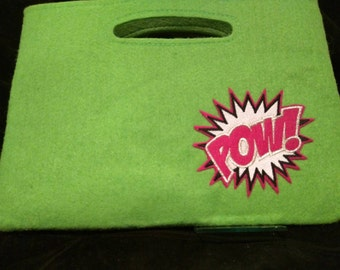 Lime green bag with silver fuchsia and black and white embroidered pow patch,   Ready to ship