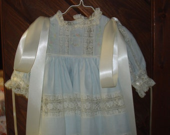 Heirloom dress and slip size 3 light blue/ecru Portrait Party flower Girl Wedding