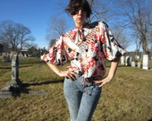 80s DIANE FRES silk blouse - psychedelic avant garde fairytale top - flowers and black and white blocks
