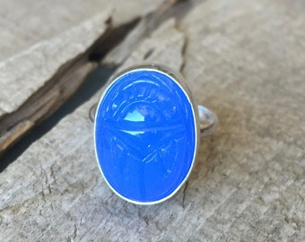 Vintage Bright Blue Egyptian Scarab Beetle Sterling Ring in Sterling Silver