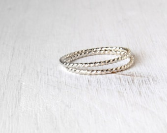 Stacking silver rings / twisted wire stacking rings in shiny silver / simple silver rings / skinny stacking ring modern Handmade