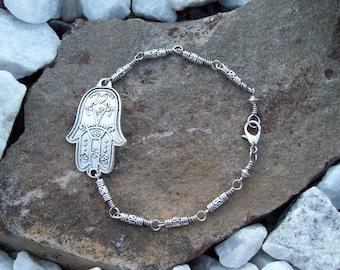 Hamsa link silver bracelet, Hippie Bohemian jewelry,  metal beaded bracelet, yoga jewelry
