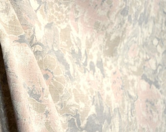 Grey Pink Vintage Floral Fabric