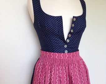 Vintage Navy With Tiny Floral Print Country Girl Boho Austrian Dirndl Dress With Pink Apron