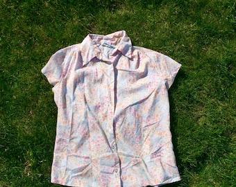 Pastel Ditsy Floral 80's Blouse - L