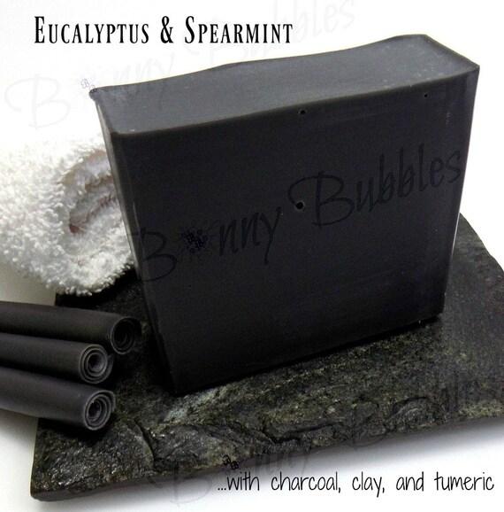 EUCALYPTUS And SPEARMINT Charcoal Clay Soap Turmeric