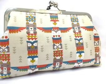 clutch purse - totem  - 8 inch metal frame clutch purse - large purse- bear - bird - owl- animal -  clutch - kisslock