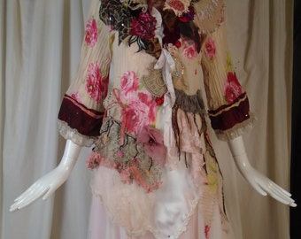 Tawny Rose Jacket Art to Wear Cinderella Hippie Boho with Vintage Lace Antionette Style Marie Antionette and My Artwork