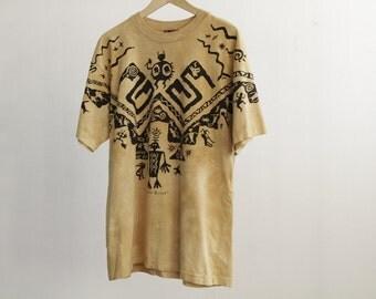 vintage SOUTHWEST color block summer 90s NATIVE AMERICAN fresh prince t-shirt Size Medium