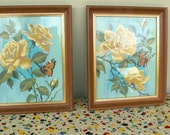 Pair of Vintage Paint By Number Flower and Butterfly