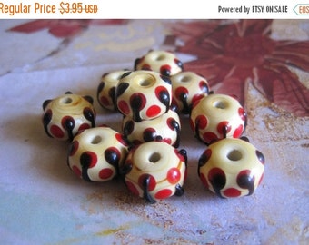20% OFF ON SALE Yellow with Red Spot Lampwork Glass Roundelle 10mmx13mm Beads, 6 pcs