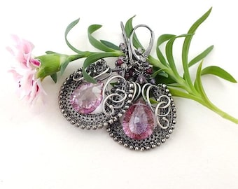 Wire wrapped earring, pink luxury earring, sterling silver jewelry, wirework