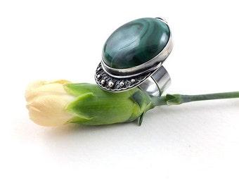 Metalwork sterling silver ring, green malachite retro ring, gemstone fine jewelry, adjustable ring