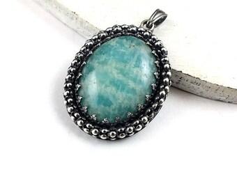 Silver amazonite pendant, retro pendant, metalwork jewelry, sterling gemstone jewelry, oval pendant