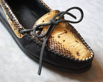 Incredible 80s vintage Snakers Brand Moccasin Loafers Real Snake Skin with Black genuine Leather uppers and rubbery soles size 8.5
