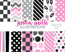 SALE 50s Sock Hop Cute Digital Paper Backgrounds for Commercial or Personal Use, Retro Pink Black Papers, Patterns