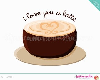 Instant Download Cute I love You a Latte Digital Clipart, Cute latte Clip art, Coffee Graphic, Cute Coffee Drink Illustration, #1105