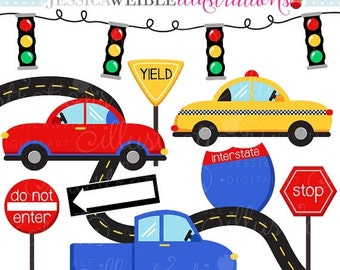 SALE On The Road Cute Digital Clipart - Commercial Use OK - Car Clipart, Taxi, Road Signs Graphics