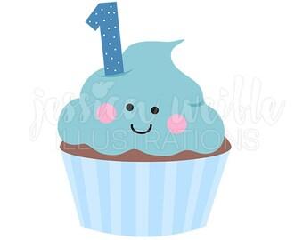 Blue Boys First Birthday Cupcake Cute Digital Clipart, Cupcake Clip art, First Birthday Graphics, Illustration, #1643