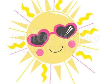 Sunshine Cutie Cute Digital Clipart, Sun Clip art, Summer Graphic, Illustration, #1608