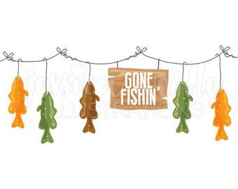 Gone Fishin Trout Line Cute Digital Clipart, Fish on a Line Clip art, Fish Graphics, Fish Illustration, #1592