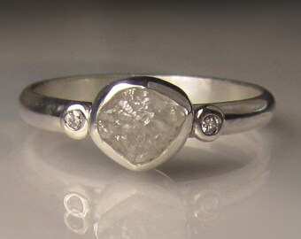 White Raw Diamond Engagement Ring - Raw Engagement Ring - Recycled Palladium Sterling - Rough Diamond Ring