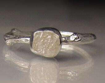 White Raw Diamond Engagement Ring, Rough Diamond Ring, Uncut Diamond Twig Ring