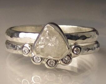 Raw Diamond Ring, White Rough Diamond Engagement Ring, Hammered Rough Diamond Ring, Palladium Sterling