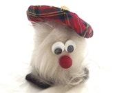 Fuzzy Scottish Character, Cute Vintage Souvenir in Tartan Cap (A2)