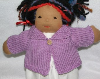 Doll Sweater for 13 inch Doll in Light Purple - Lilac - Lavender Wool RTG