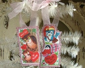 Valentine's Day gift tags for friend Retro cute Owl and Birds tags Valentine's Day card scrap tags glittered ornament