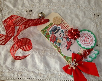 Tags Retro Snowman gift tag Large vintage style Christmas do not open until Christmas tag mixed media paper art tag gift party favor tag