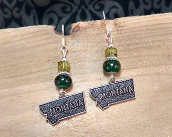 Green Montana Earrings, Green Montana Sterling Silver Earrings, State of Montana Earrings, Green State of Montana Sterling Earrings