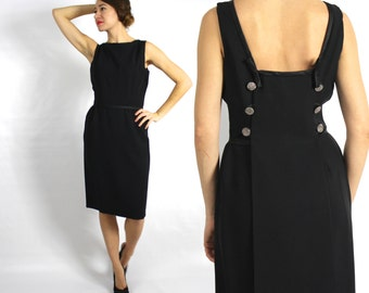 Vintage 50s Black Wiggle Dress   Backless Black Party Dress, Small
