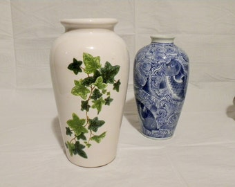 Vintage Botanical Vase with Ivy Vines Design /  Floral Vase Botany Illustration / USA Pottery