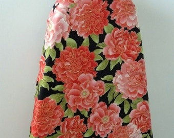 Ironing Board Cover - tangerine camelias with a splash of gold trim