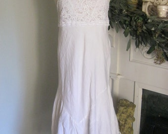 French Sugar Couture - Linen and Lace Collection -  White Linen Fabric Dress with White Cotton Lace Bodice - Altered Couture