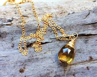 Beer Quartz, Quartz Necklace, Gemstone Jewelry