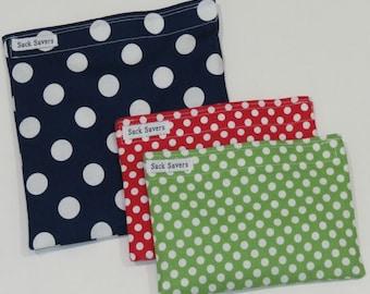 Reusable Sandwich and Snack Bag Set Eco Friendly Polka Dot Eco Friendly Reusable Bags