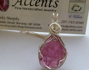 Pink Maine Tourmaline and Sterling Silver Wrapped Pendant