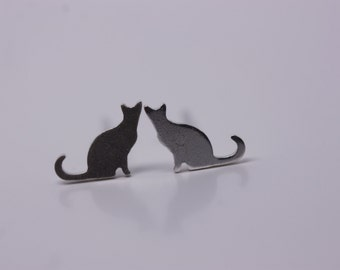 Tiny sterling silver cat earrings