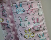 Baby Girl Hot Pink Bunny Bunnies Rabbit and Light Pink Minky, XLARGE Snuggle Size Baby Blanket