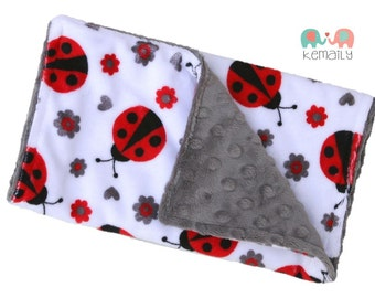 Ladybug Double Minky Burp Cloth, Burp Rag, Baby Shower Gift, Theme, Feeding, Nursing, New Mom Gift, Ladybug Burp Cloth