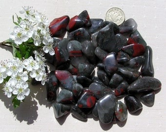 10 Seftonite (Vulcan Jasper) Crystal Tumblestones, Bloodstone, Helitrope, Crystal Collection, Meditation Stone, Green Crystals, Libra