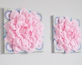 "Aqua and Pink Haute Girl Nursery Light Pink Dahlias 12 x12"" Canvases Wall Art- Baby Nursery Wall Decor-TWO Wall Hangings"