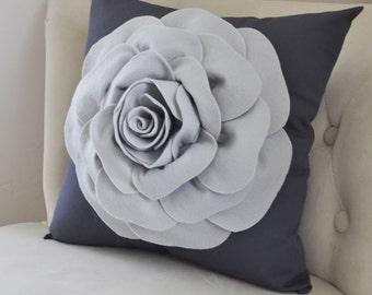 Charcoal Grey Pillow Light Gray Rose, Custom Made, Dark Gray, Charcoal Grey Home Decor Pillow with Twill Cotton Zipper Cover