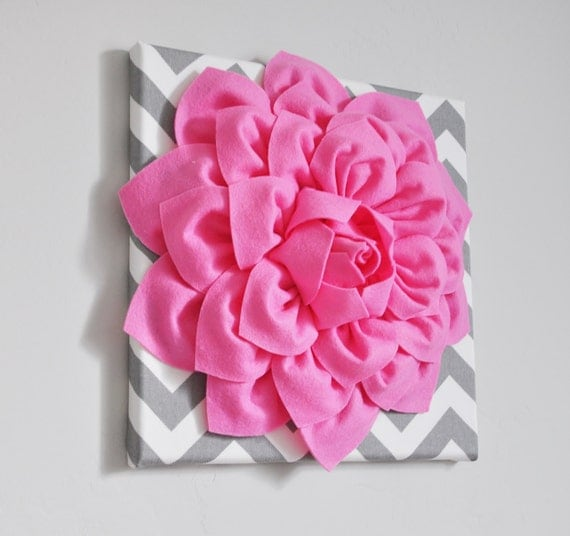 "Bright Pink Wall Flower -Bright Pink Dahlia on Gray and White Chevron 12 x12"" Canvas Wall Art- Baby Nursery Wall Decor- Pink Home Decor Girl"